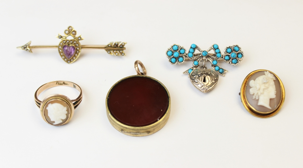 A selection of Victorian and later jewellery, to include an Edwardian 9ct gold amethyst and seed - Image 2 of 2