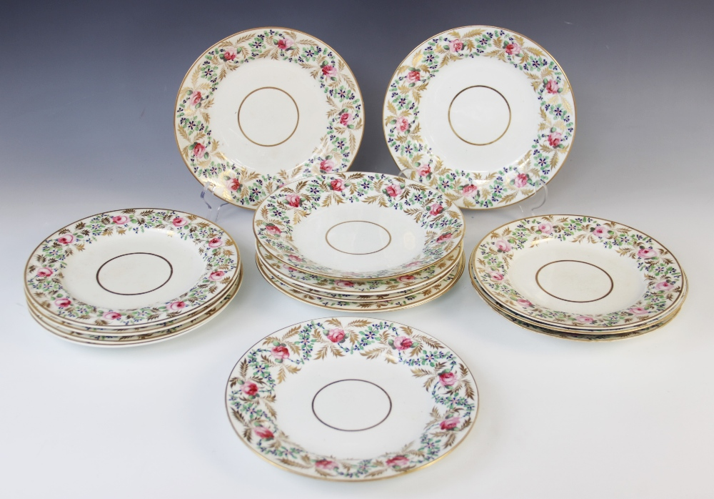 Fifteen Derby florally decorated plates, 19th century, each of circular form and decorated with