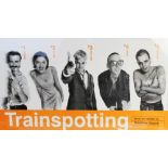 A vintage movie poster for 'Trainspotting' (1996) starring Ewan McGregor, printed by GB Posters,