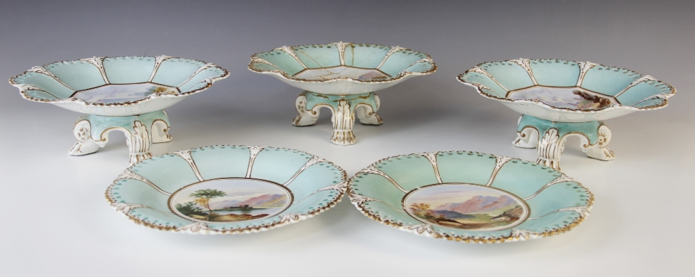 A Victorian topographical dessert service in the manner of Coalport, comprising; three tripod - Image 3 of 3
