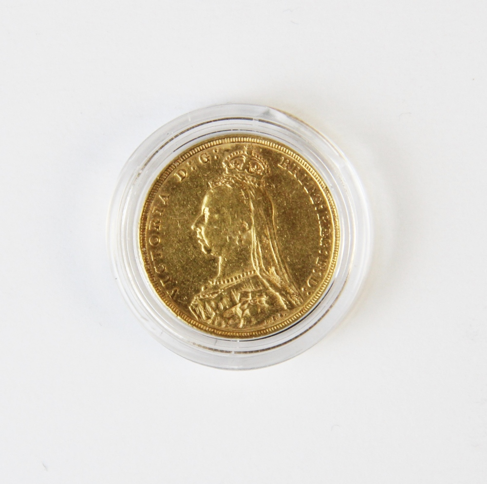 A Victorian sovereign dated 1891, weight 8g