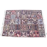 A multi-coloured ground full pile old Persian Bokhara carpet, with garden design, 200cm x 150cm