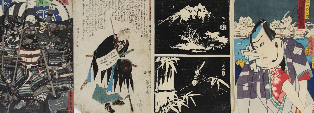 Five Japanese woodblock prints on paper, Ukiyo-e school, mid 19th century, with two early 20th - Image 8 of 8
