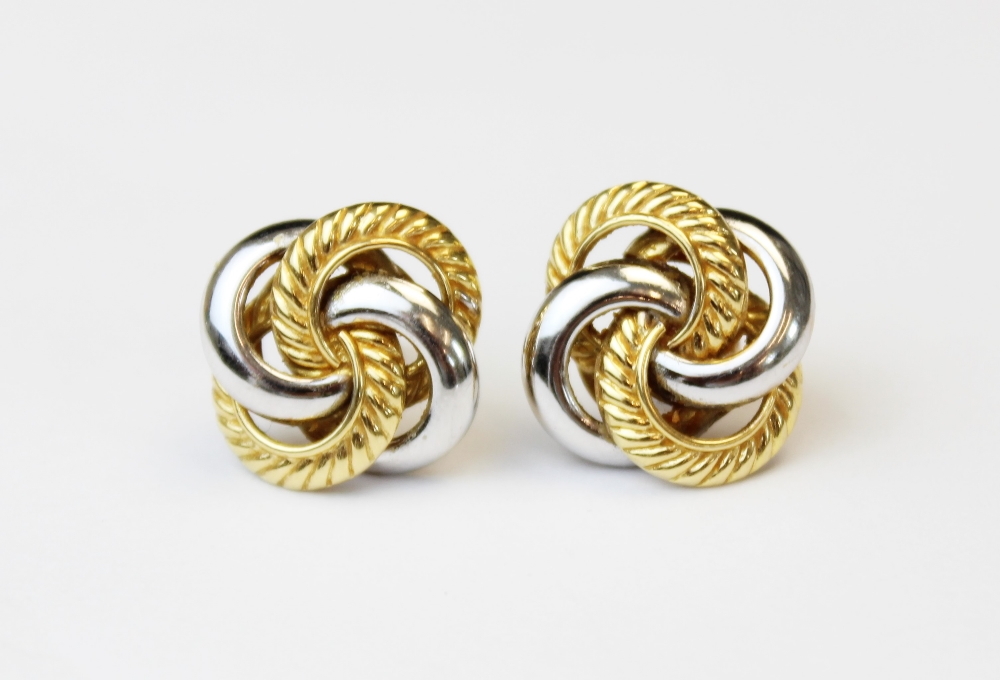 A pair of 18ct gold twist-design earrings, designed as four interlocking hoops in plain polished