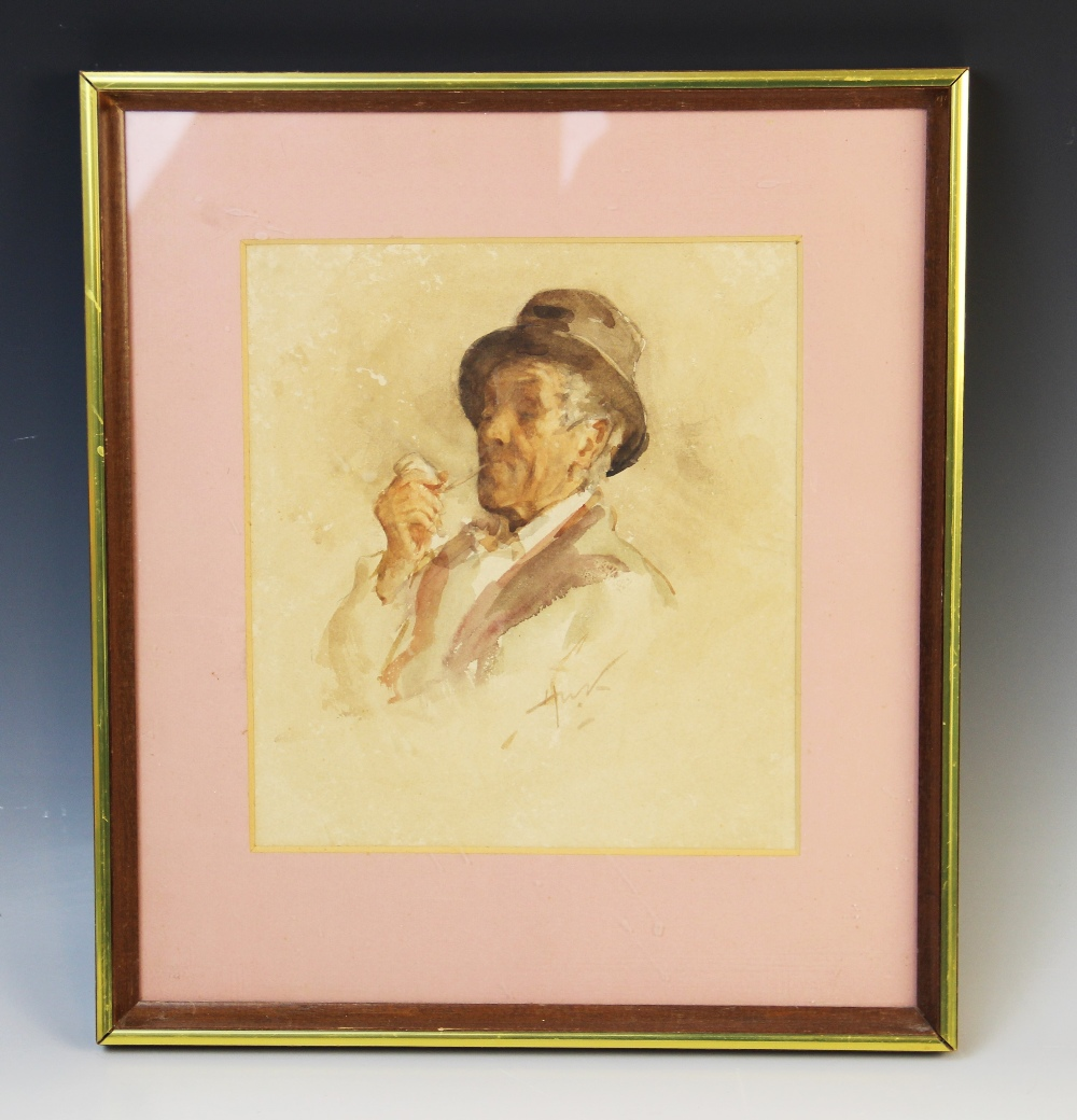 Henry Wright Kerr, R.S.A. R.S.W. (Scottish, 1857-1936), A man relaxing with a pipe, Watercolour on - Image 2 of 2