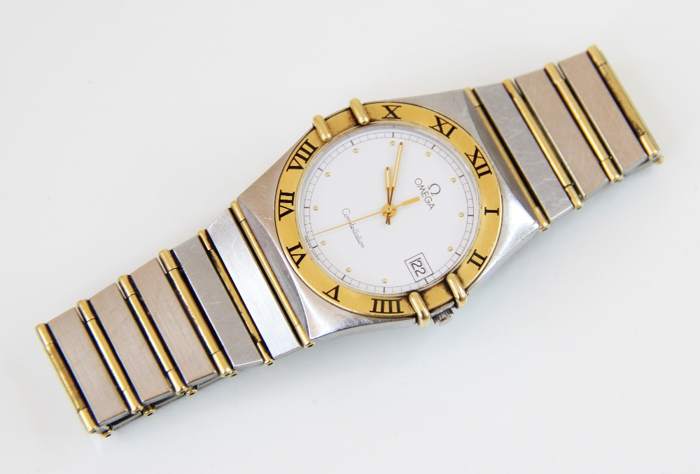 A gentleman's Omega Constellation bi-colour stainless steel wristwatch, the white dial with gold-