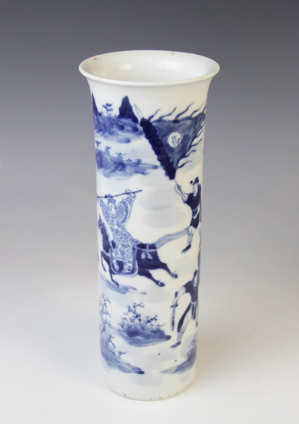 A Chinese porcelain blue and white sleeve vase, 19th century, of cylindrical form with flared rim, - Image 2 of 9