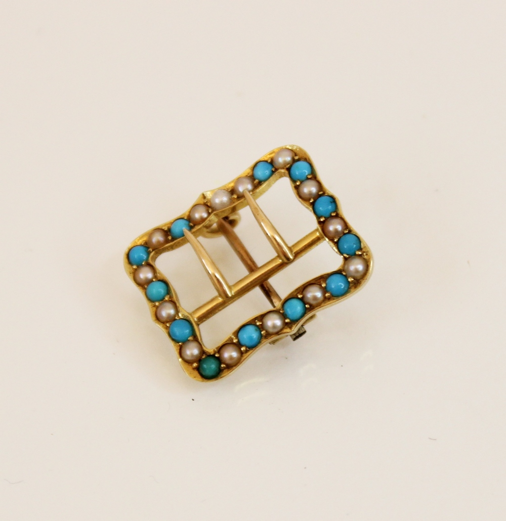 An Edwardian 15ct gold turquoise and pearl buckle brooch, of rectangular form with shaped borders, - Image 2 of 2