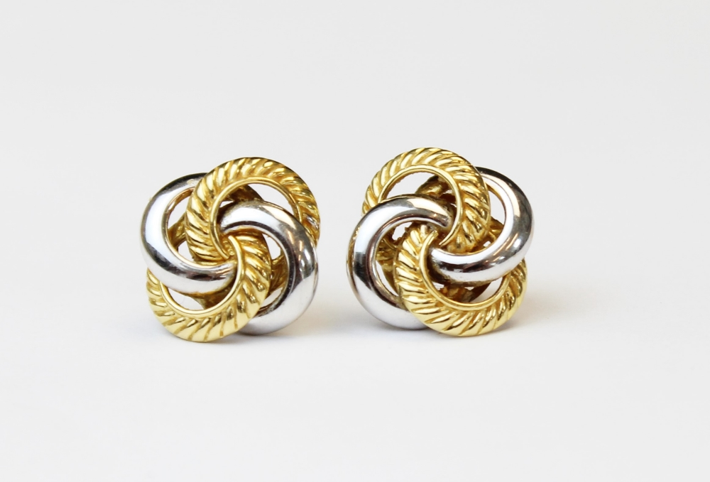 A pair of 18ct gold twist-design earrings, designed as four interlocking hoops in plain polished - Image 2 of 2