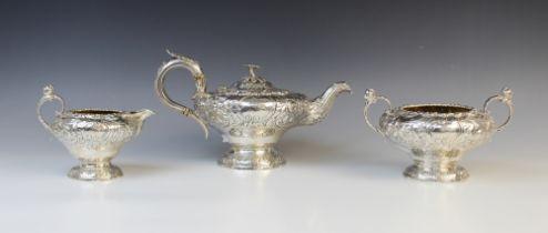 A William IV three-piece silver tea service by John Wakefield, London 1832, comprising teapot, sugar