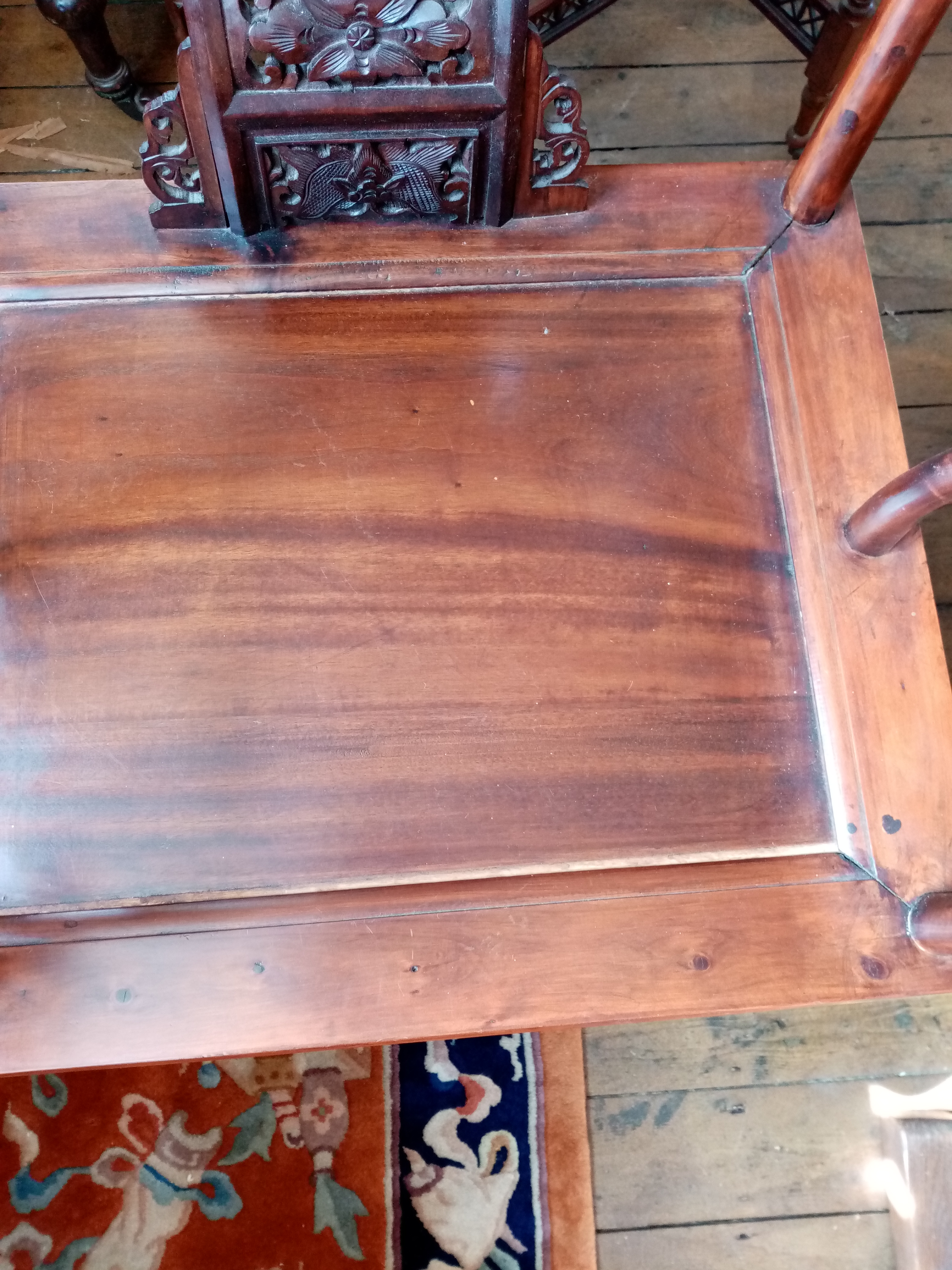 A Chinese stained wood altar chair, 20th century, the horse shoe shaped top rail with scrolled - Image 3 of 5