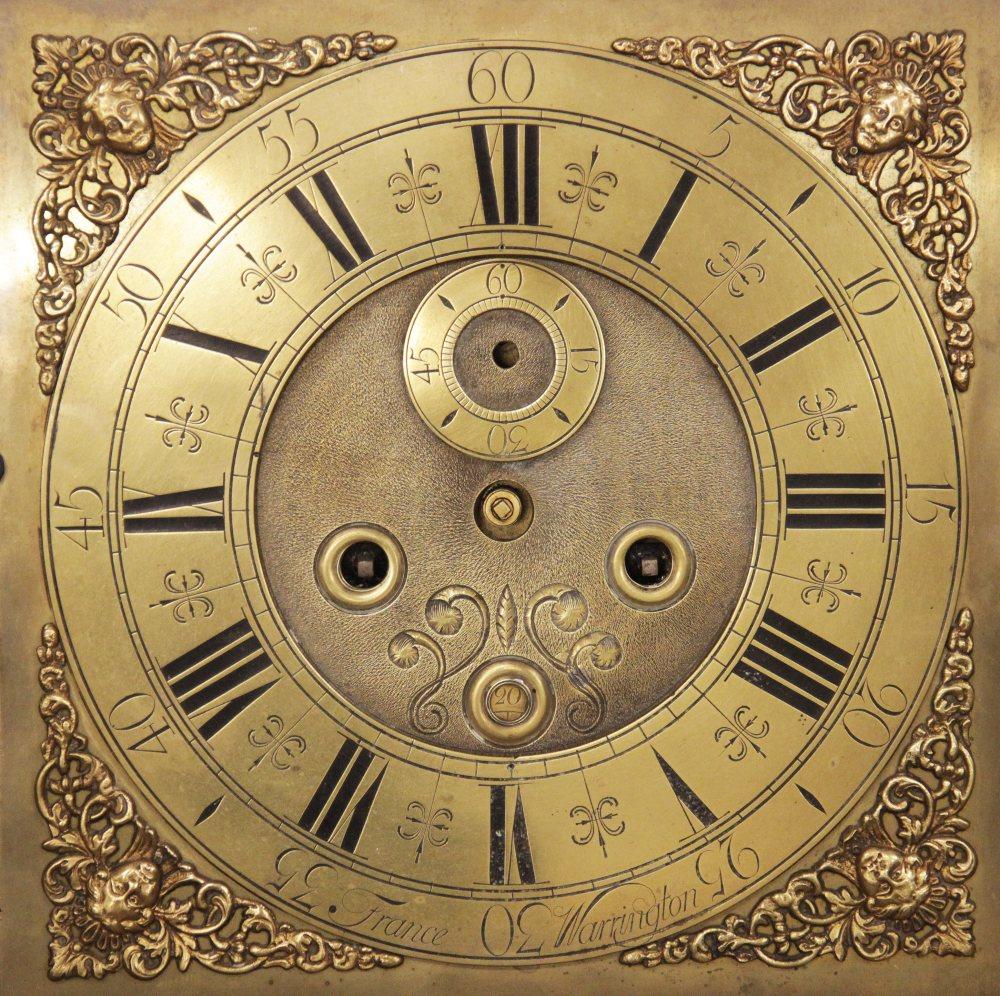 A mid 18th century oak cased eight day longcase clock, signed 'France, Warrington', the 30cm