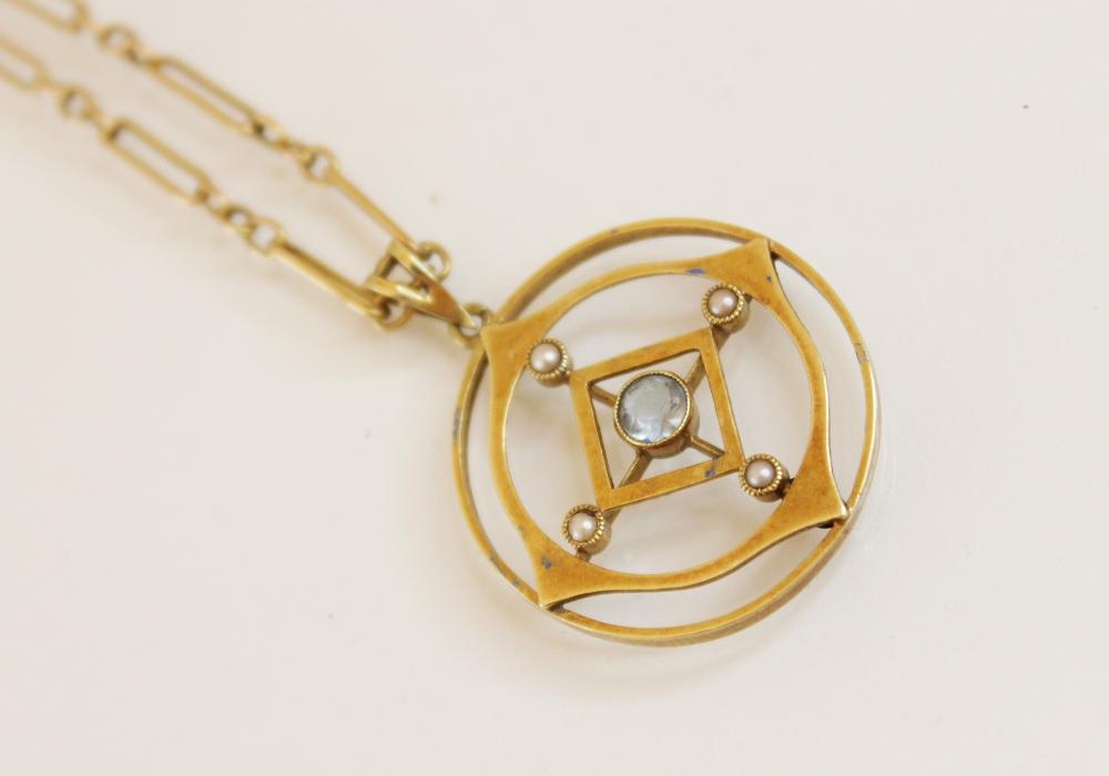 An Edwardian 15ct gold aquamarine and pearl set pendant, comprising a round mixed cut aquamarine - Image 2 of 3