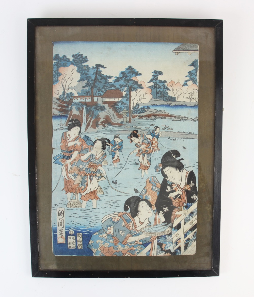 Five Japanese woodblock prints on paper, Ukiyo-e school, mid 19th century, with two early 20th - Image 2 of 8