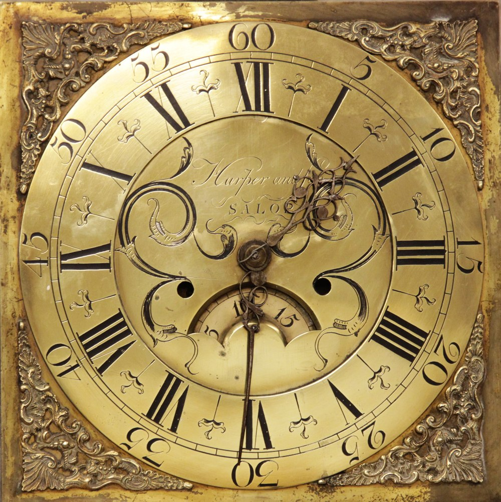 A mid 18th century oak and mahogany cross banded thirty hour longcase clock, signed 'Harper and Son,