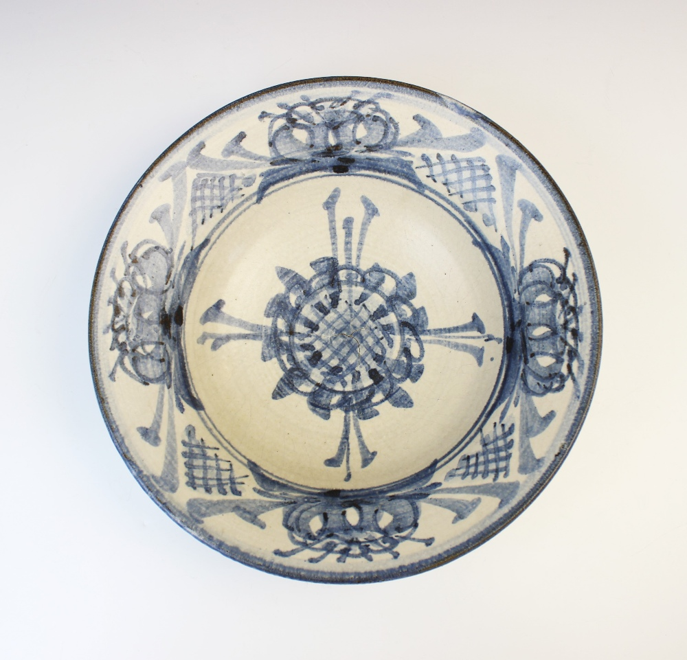 An Agnete Hoy studio pottery bowl, 20th century, the stoneware bowl decorated with blue abstract