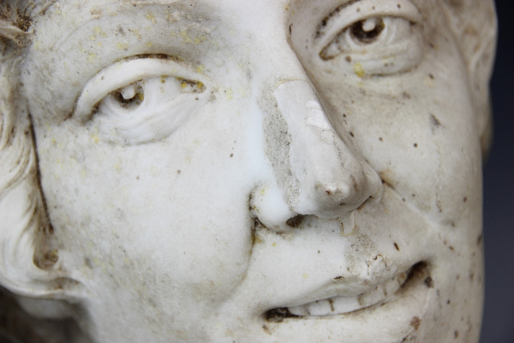 An Art Deco marble sculpture of a female head, early 20th century, set above a grey marble plinth, - Image 3 of 5