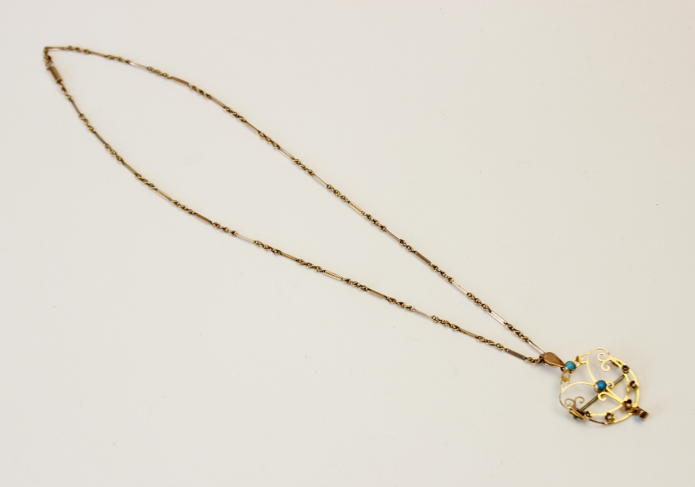 An Edwardian turquoise and seed pearl set pendant/brooch, the unmarked yellow metal open work - Image 2 of 5