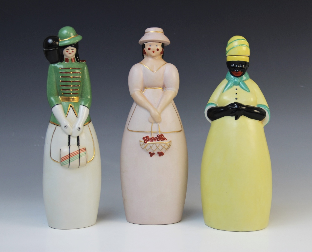 Three French Art Deco figural decanters by Robj, early 20th century, comprising; 'Big Mama' and
