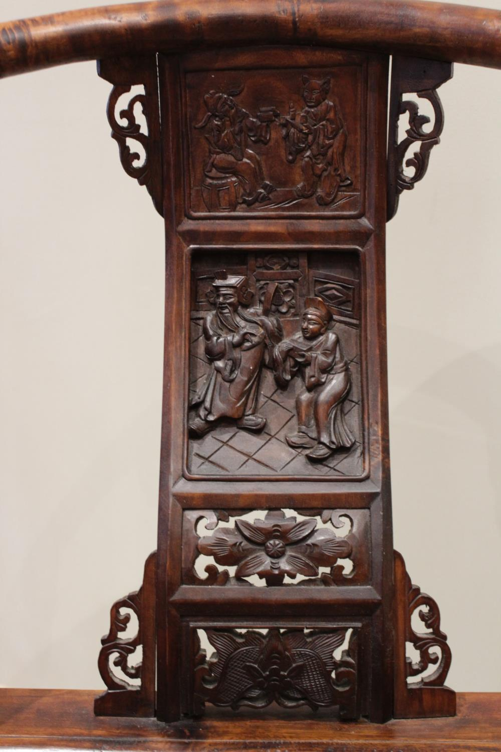 A Chinese stained wood altar chair, 20th century, the horse shoe shaped top rail with scrolled - Image 2 of 5
