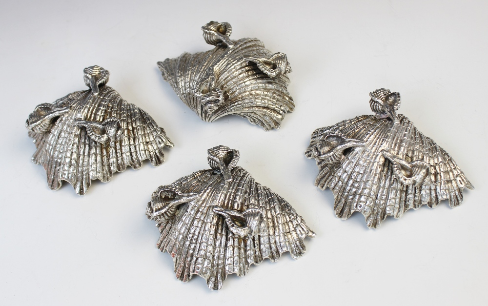 A set of four silver plated shell salts by Elkington & Co, each realistically modelled as a shell - Image 3 of 3