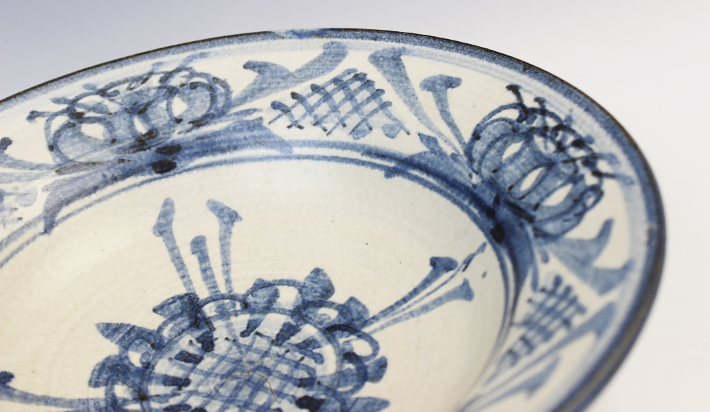 An Agnete Hoy studio pottery bowl, 20th century, the stoneware bowl decorated with blue abstract - Image 3 of 6