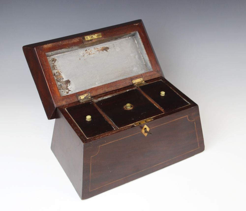 A George III mahogany tea caddy, of sarcophagus form , the pagoda shaped hinged cover centred with - Image 3 of 3