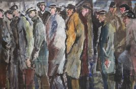 John Thompson (British, 1924-2011), Group series street scene with figures queuing, Gouache and