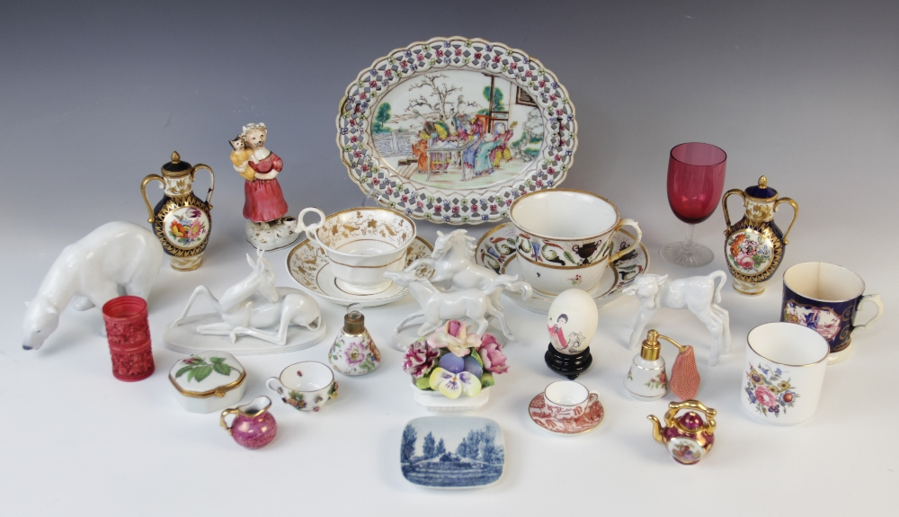 A selection of British and continental porcelain, 19th century and later, to include a Staffordshire