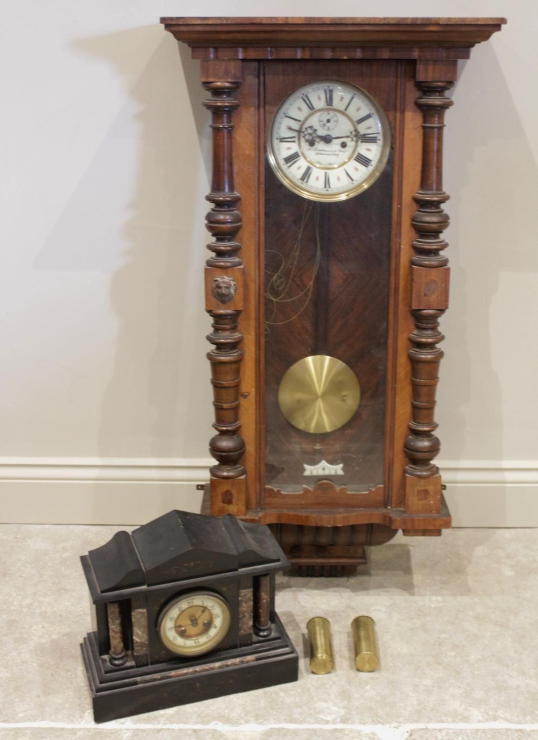 A Victorian twin weight beech and walnut Vienna wall clock, the 19cm white enamelled dial with a