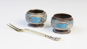 A pair of Danish silver and enamel open salts by Marius Hammer, each of compressed circular form
