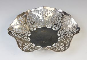 An Irish silver bon-bon dish by The Royal Irish Silver Co, Dublin 1970, of hexagonal form with waved