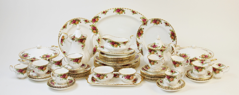 A Royal Albert part service in the 'Old Country Roses' pattern, comprising; seven dinner plates, six