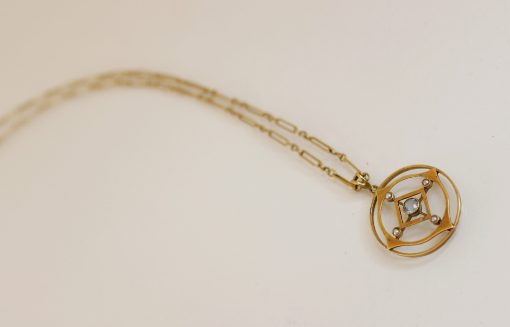 An Edwardian 15ct gold aquamarine and pearl set pendant, comprising a round mixed cut aquamarine - Image 3 of 3