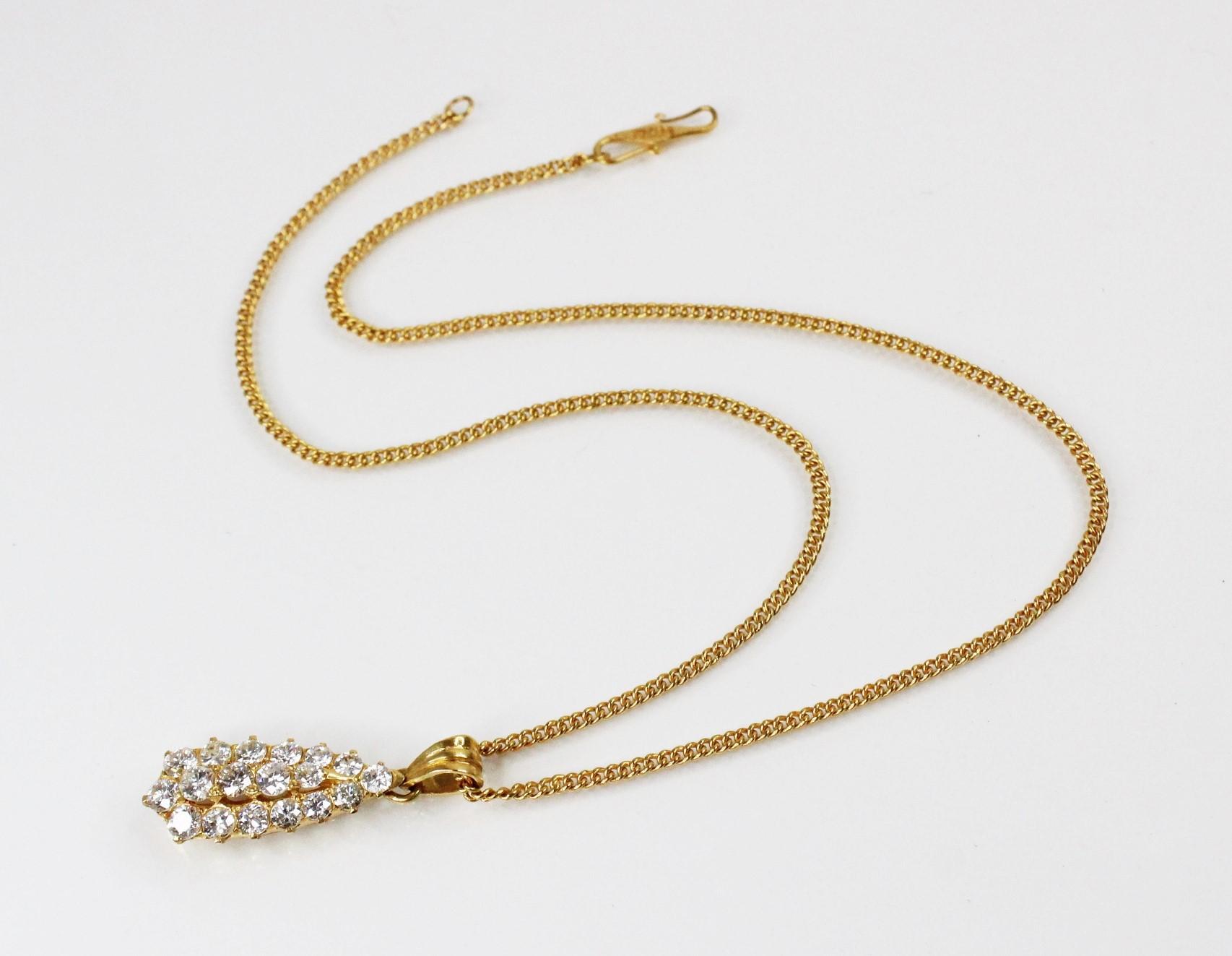 A diamond teardrop pendant, comprising eighteen round brilliant cut diamonds, (estimated diamond - Image 4 of 6