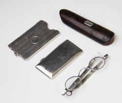 A pair of George III silver spectacles by Cocks & Bettridge, Birmingham 1816, in a wooden case