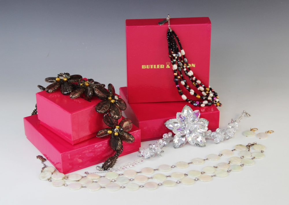 A selection of Butler & Wilson vintage costume jewellery, to include; a large floral paste necklace,