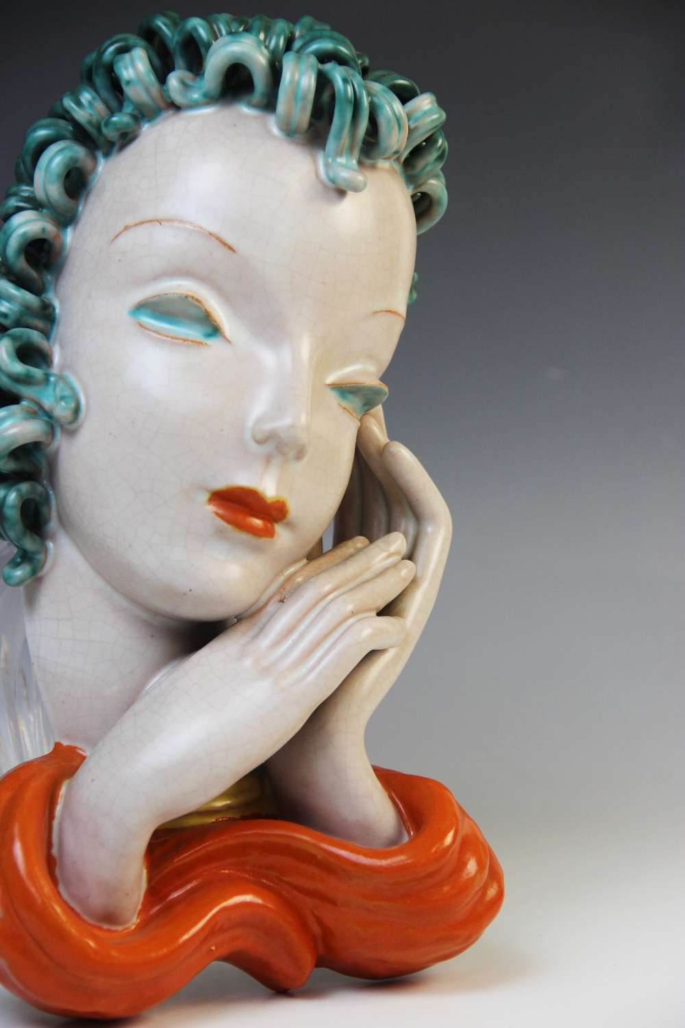 An Art Deco Goldscheider wall mask, early 20th century, modelled as a lady with blue curled hair and - Image 3 of 9