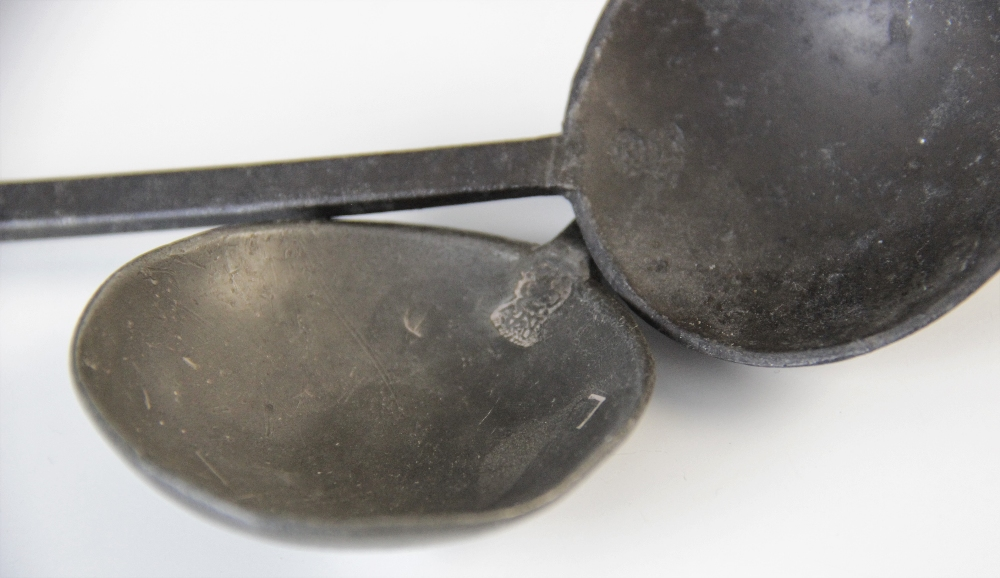 Four pewter slip top spoons, 19th century, of typical form, the circular bowls with touch marks at - Image 2 of 3