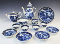 A Spode blue and white part tea service, 19th century, comprising: a teapot and cover, seven tea