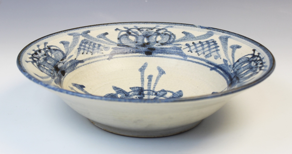 An Agnete Hoy studio pottery bowl, 20th century, the stoneware bowl decorated with blue abstract - Image 2 of 6