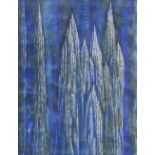 (Ronald) John Petts (Welsh, 1914?1991), 'Silver Pinnacles', Monotype ink and sgraffito on paper,