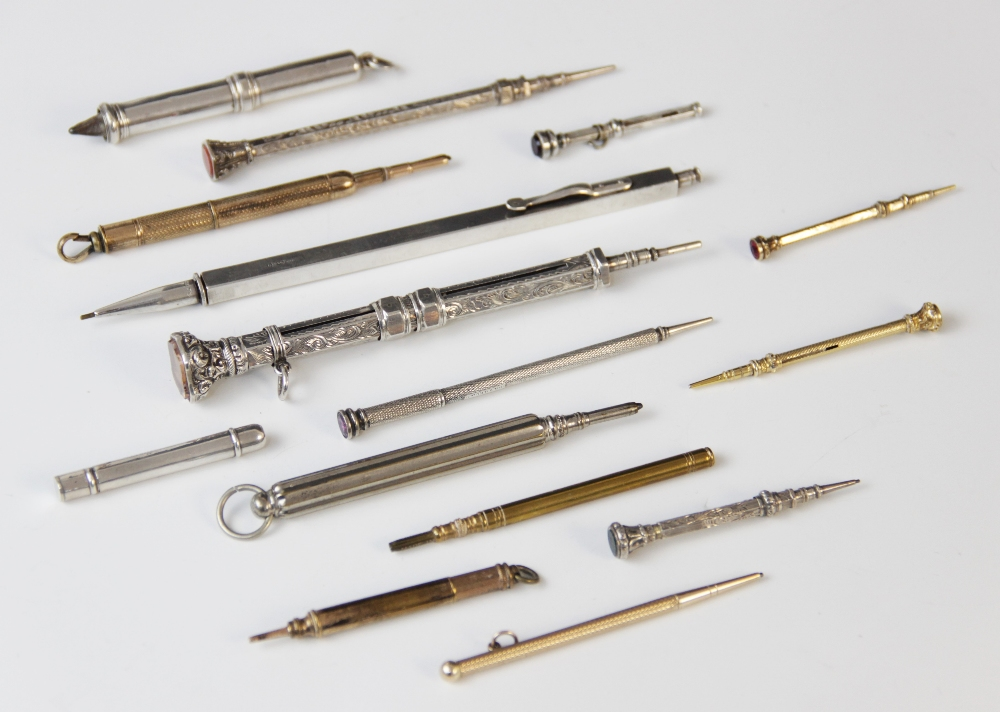 A selection of Victorian and later mechanical and travelling pencils, to include a George V 9ct gold