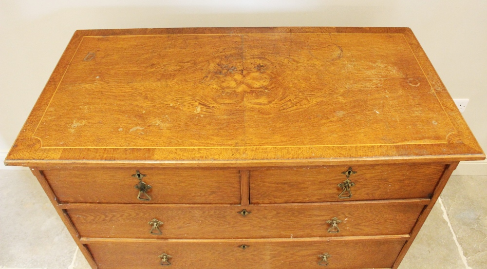 A late 19th century oak Aesthetic movement chest of drawers, the quarter veneered pollard oak top - Image 2 of 3