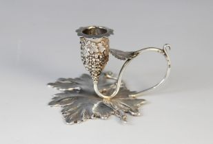 A William IV miniature silver taperstick by Taylor & Perry (city and date letters worn), designed as