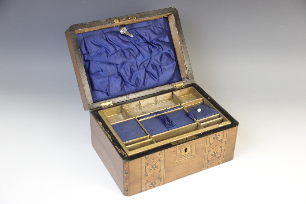 A Victorian walnut and parquetry banded sewing box, the hinged cover opening to a - Image 2 of 3