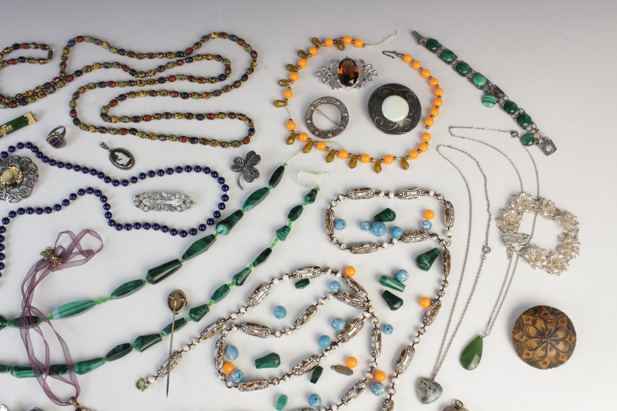 A selection of antique, vintage and costume jewellery, to include; a silver smokey quartz set Celtic - Image 3 of 4
