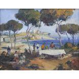 F. Campi (Italian, 20th century), A picnic scene in a coastal glade, Oil on canvas, Signed lower