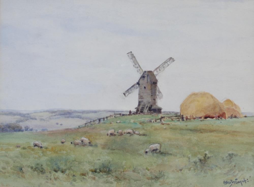 Alfred de Breanski Junior (British, 1877-1957), A bucolic scene with windmill, haystacks and