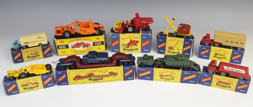 A collection of Moko Lesney 'Matchbox' Series diecast model vehicle Major Packs, comprising